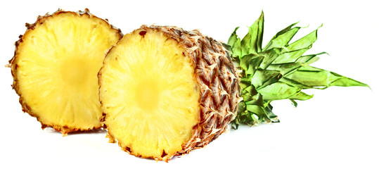 Fresh slice pineapple isolated on white background