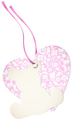 Hangtag Teddy & Heart Floral Pink Bow
