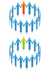 people holding hand in circle, vector