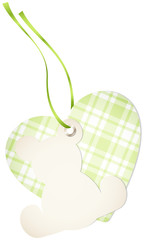 Hangtag Teddy & Heart Check Green Bow