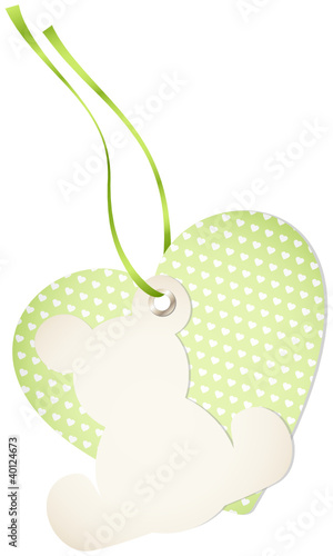 Hangtag Teddy & Hearts Check Green Bow