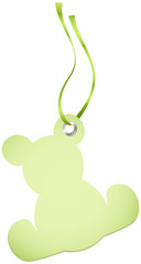 Hangtags Beige Green Teddy Green Bow