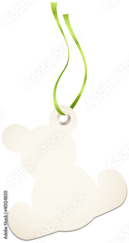 Hangtags Beige Teddy Green Bow