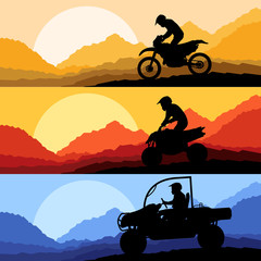 All terrain and sport motorbike riders motorcycle silhouettes