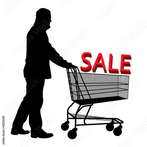 Big save in a shopping cart. Concept of discount vector