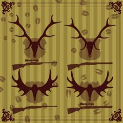 Deer and moose horns hunting trophy illustration collection