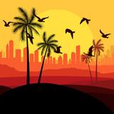 Dunes and migrating birds in Arabic skyscraper city poster