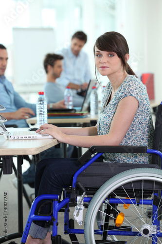 Young woman disabled at work