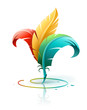 creative art concept with color red yellow and blue feathers.