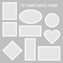 10 Blank Stamps White Frame