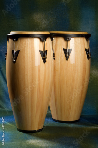 Conga set on green and blue background