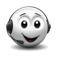 Smiley mit Headset