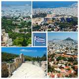 Collage of Athens landmarks , Greece poster