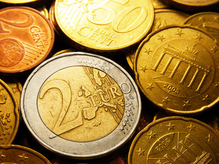 Two euro coin. Europe finance system concept.