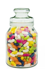 Jelly beans in a traditional glass jar with clipping path
