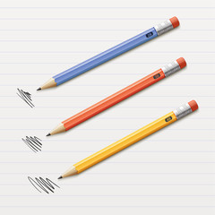Vector illustration of 3 sharpened pencils