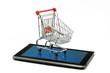 tablet-pc mit einkaufswagen