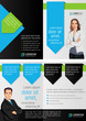 Blue and green template for advertising with business people
