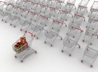many shopping carts. 3d render.