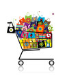 Supermarket cart with shopping bags for your design
