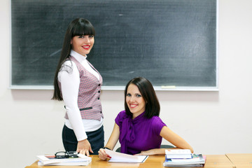 Two young caucasian teachers