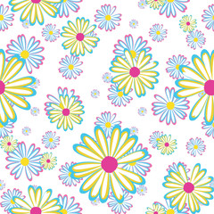 seamless pattern with flowers daisies