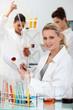 Three women in laboratory