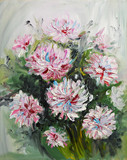 oil painting bouquet of peony flowers