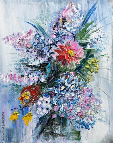 obraz olejny bukiet wiosennych kwiatów