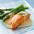 Salmon fillet with asparagus and yellow sauce - 40138859
