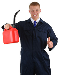 A guy holding a fuel can with a thumbs up sign