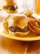 burger slider with onion rings and beer