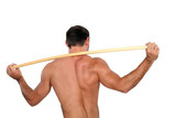 Man stretching with wooden pole