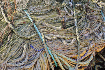 Closeup of fishing nets and ropes