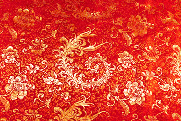 Fragment of luxury red chinese silk