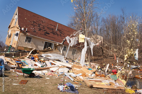 Tornado damage in Lapeer, Michigan. - 40141671