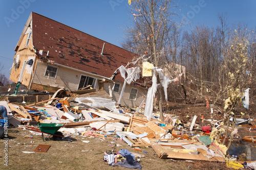 canvas print picture Tornado damage in Lapeer, Michigan.