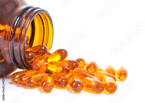Fish oil bottle and capsules