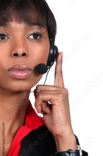 Pensive call-center worker