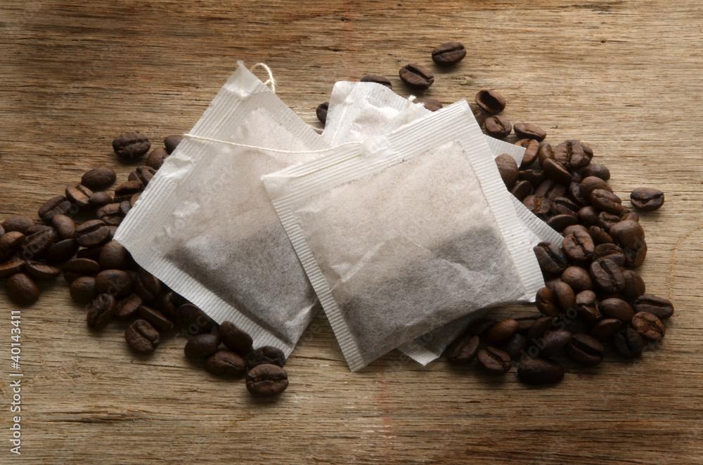 foto auf acrylglas coffee bags bustine di caff caf en. Black Bedroom Furniture Sets. Home Design Ideas