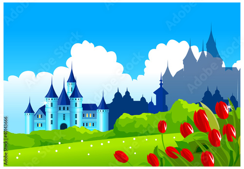 Foto op Aluminium Kasteel Fantasy castle on green landscape