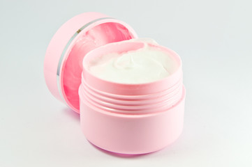 Closeup of jar of moisturizing face cream