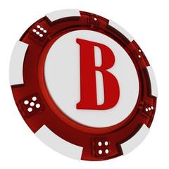 Poker chip font. 3D Rendered Casino Style. Letter B