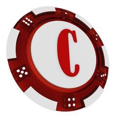 Poker chip font. 3D Rendered Casino Style. Letter C