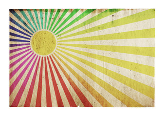 sun rays on grunge paper