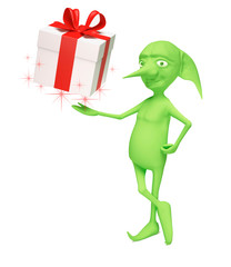 The magic elf with a gift