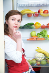 woman and fridge