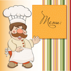Background with Smiling Chef and Menu
