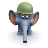 3d Elephant wears an army helmet