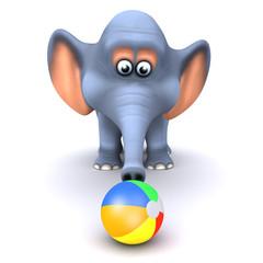 3d Elephant plays with beach ball